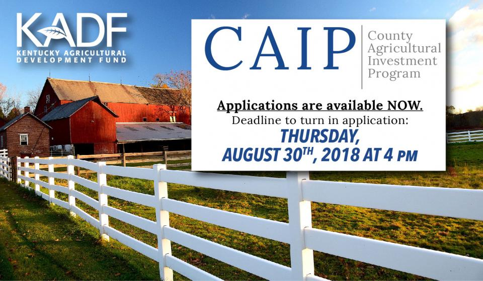 2018 CAIP Cost Share - Now Accepting Applications. Deadline is Thursday, August 30th, 2018 at 4pm.