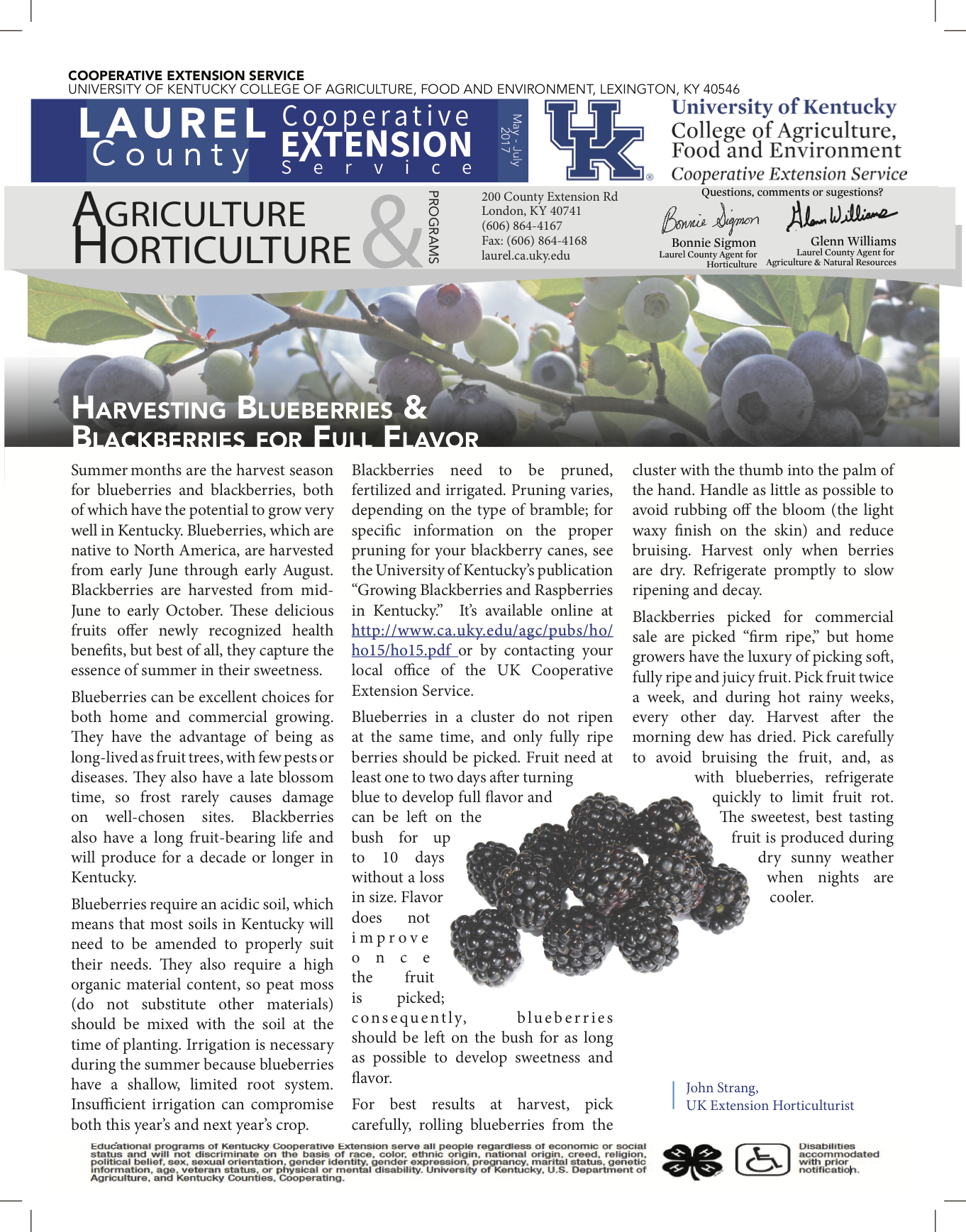 Agriculture & Horticulture Quarterly Newsletter May-July 2017