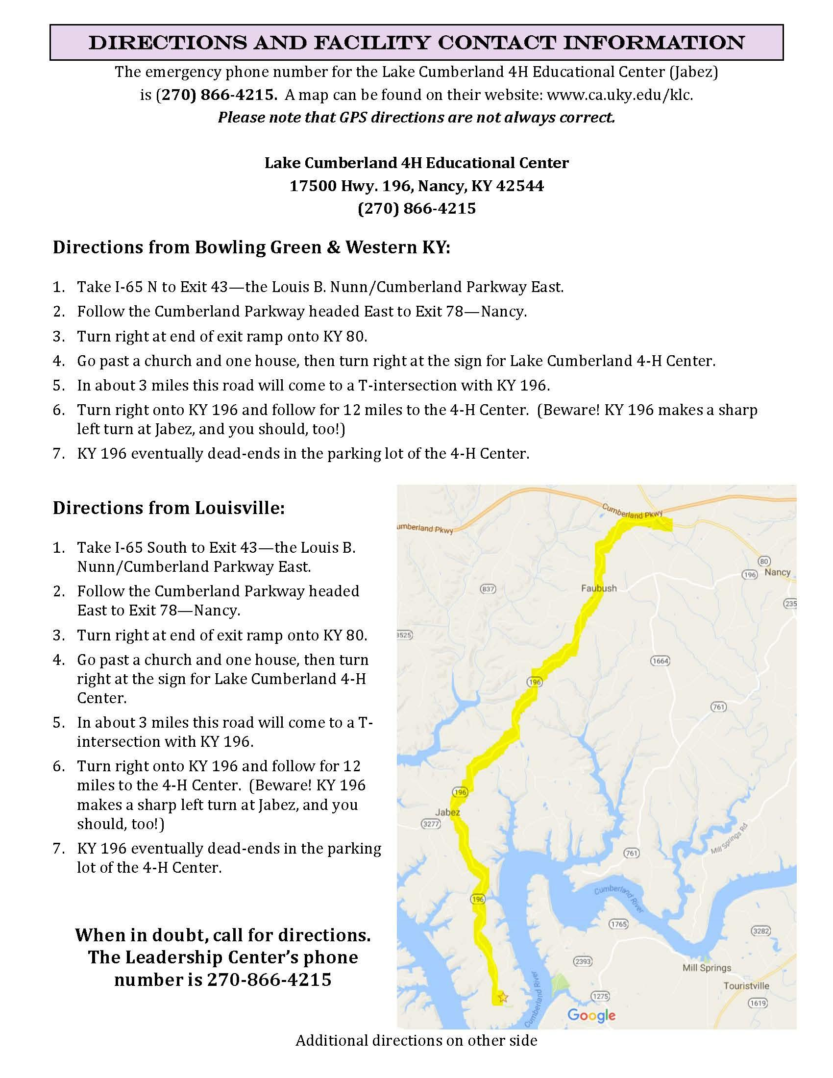 Directions to Jabez Quilt Seminar Page 2